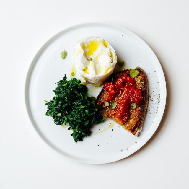 Rezept aus River Cafe 30: Bruschetta mit Mozzarella & Spinat